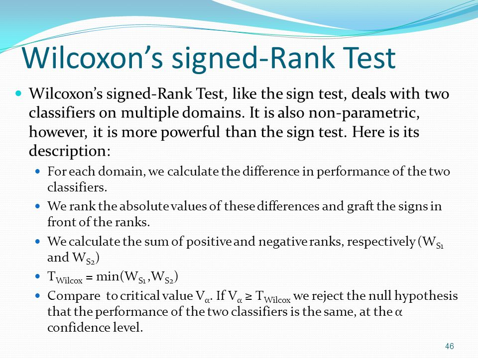 Wilcoxons signed-Rank Test: Illustration DataNBSVMNB-SVM|NB-SVM|Ranks 1.9643.9944-0.03010.03013-3 2.7342.8134-0.07920.07926-6 3.7230.9151-0.19210.19218-8 4.7170.6616+0.05540.05545+5 5.7167 00Remove 6.7436.7708-0.02720.02722-2 7.7063.6221+0.08420.08427+7 8.8321.8063+0.02580.02581+1 9.9822.9358+0.04640.04644+4 10.6962.9990-0.30280.30289-9 47 W S1 = 17 and W S2 = 28 T Wilcox = min(17, 28) = 17 For n= 10-1 degrees of freedom and α = 0.005, V = 8 for the 1-sided test.