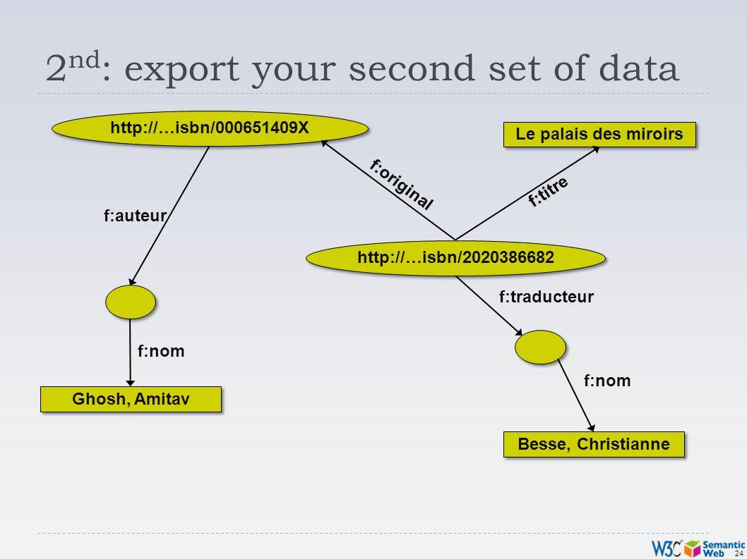 24 2 nd : export your second set of data http://…isbn/000651409X Ghosh, Amitav Besse, Christianne Le palais des miroirs f:original f:nom f:traducteur f:auteur f:titre http://…isbn/2020386682 f:nom
