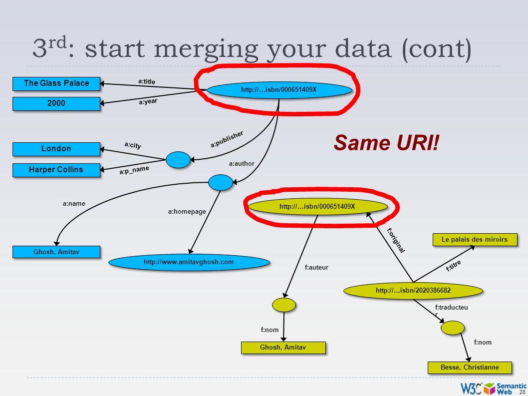 26 3 rd : start merging your data (cont) http://…isbn/000651409X Ghosh, Amitav Besse, Christianne Le palais des miroirs f:original f:nom f:traducteu r