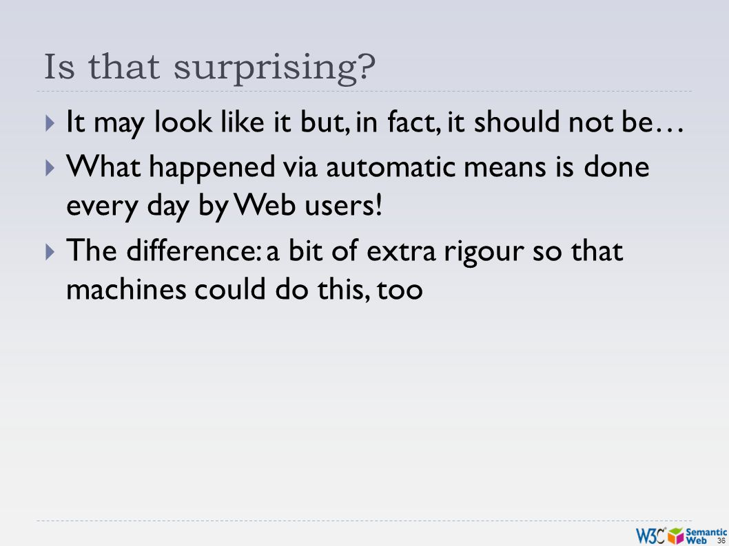 36 Is that surprising? It may look like it but, in fact, it should not be… What happened via automatic means is done every day by Web users! The diffe