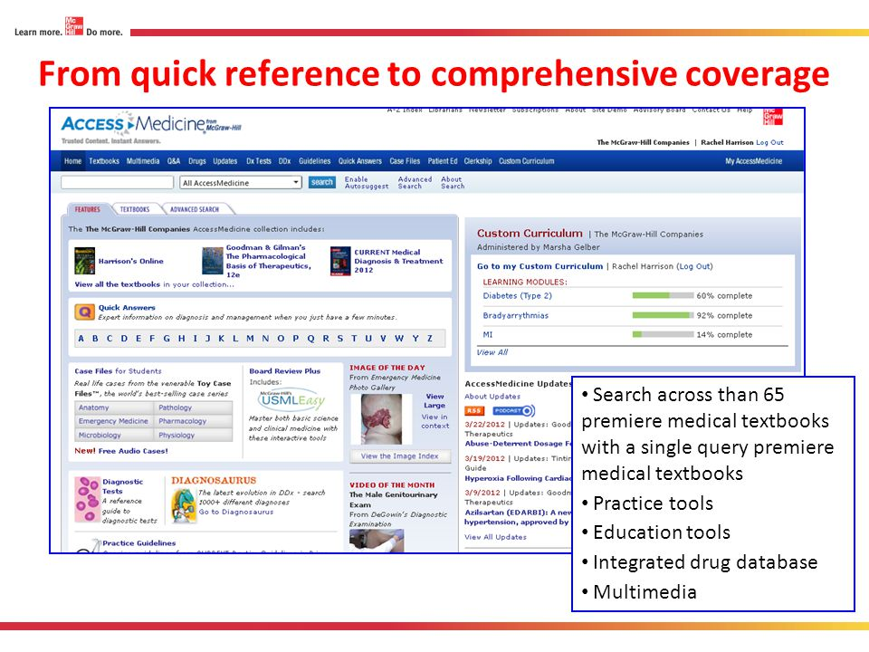 From quick reference to comprehensive coverage Search across than 65 premiere medical textbooks with a single query premiere medical textbooks Practic