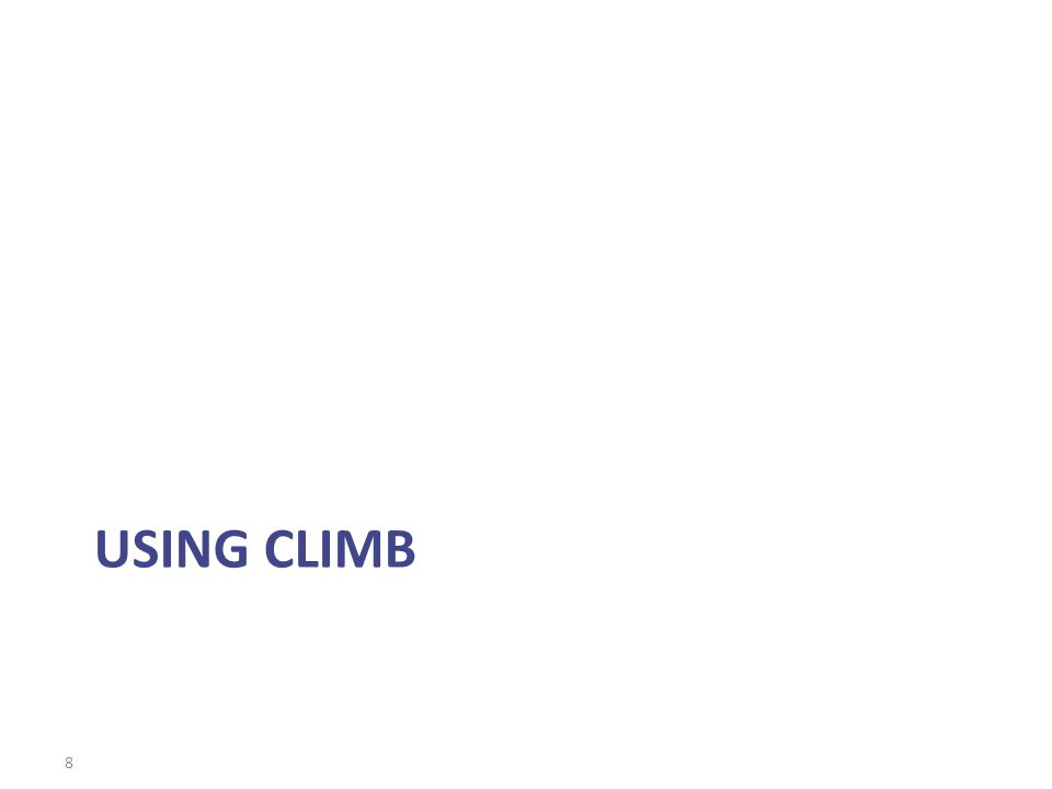 USING CLIMB 8