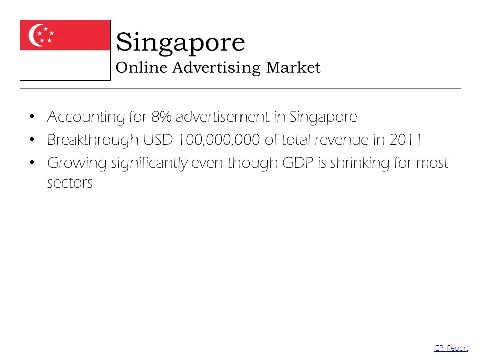 Accounting for 8% advertisement in Singapore Breakthrough USD 100,000,000 of total revenue in 2011 Growing significantly even though GDP is shrinking for most sectors Singapore Online Advertising Market CRI Report