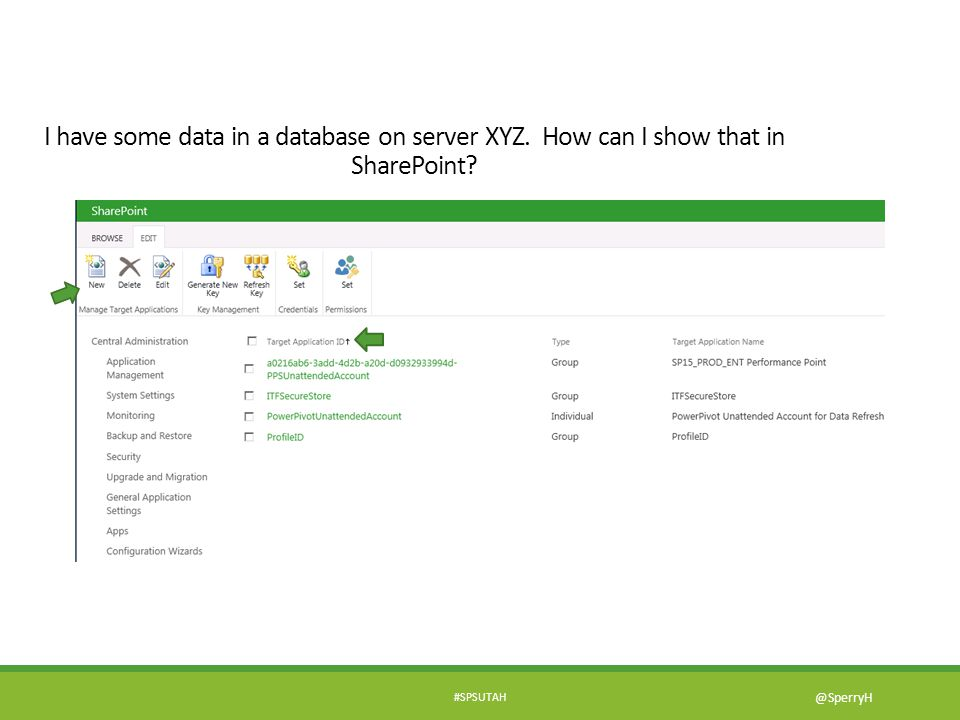 #SPSUTAH @SperryH I have some data in a database on server XYZ. How can I show that in SharePoint?