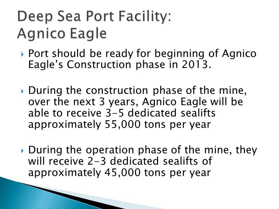 Port should be ready for beginning of Agnico Eagles Construction phase in 2013. During the construction phase of the mine, over the next 3 years, Agni