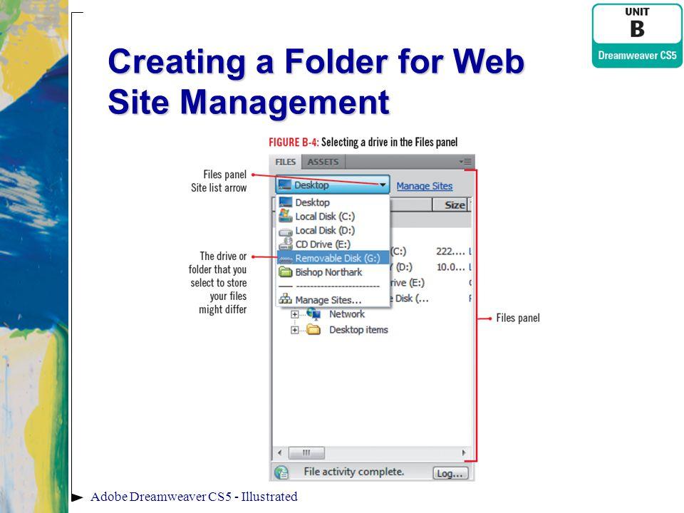 Creating a Folder for Web Site Management Adobe Dreamweaver CS5 - Illustrated