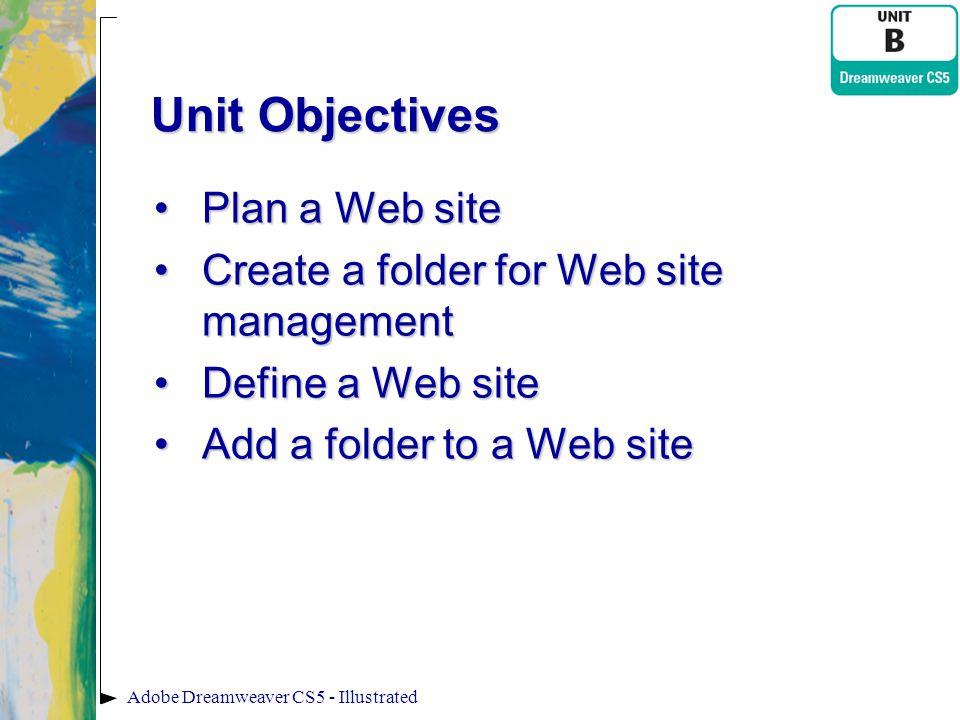 Unit Objectives Plan a Web sitePlan a Web site Create a folder for Web site managementCreate a folder for Web site management Define a Web siteDefine