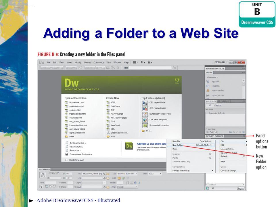 Adding a Folder to a Web Site Adobe Dreamweaver CS5 - Illustrated