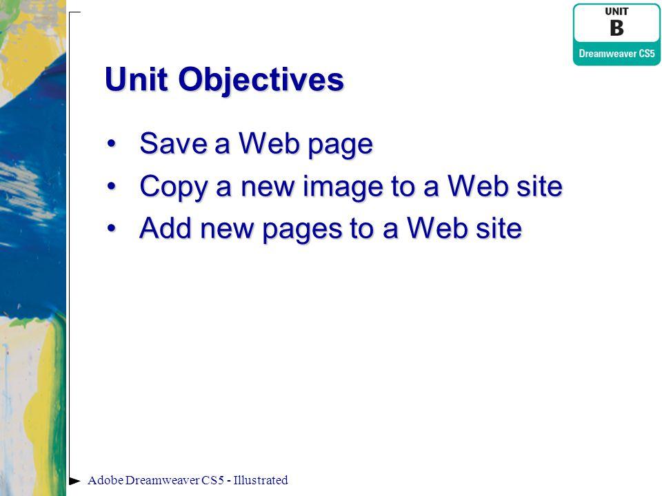 Unit Objectives Save a Web pageSave a Web page Copy a new image to a Web siteCopy a new image to a Web site Add new pages to a Web siteAdd new pages t