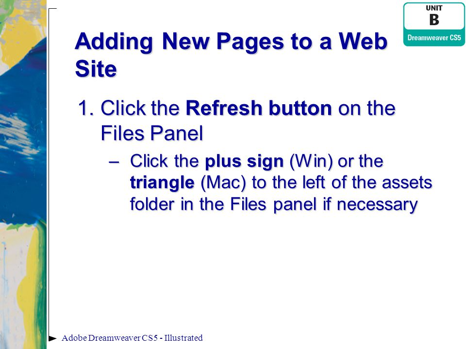 Adding New Pages to a Web Site 1.Click the Refresh button on the Files Panel –Click the plus sign (Win) or the triangle (Mac) to the left of the asset