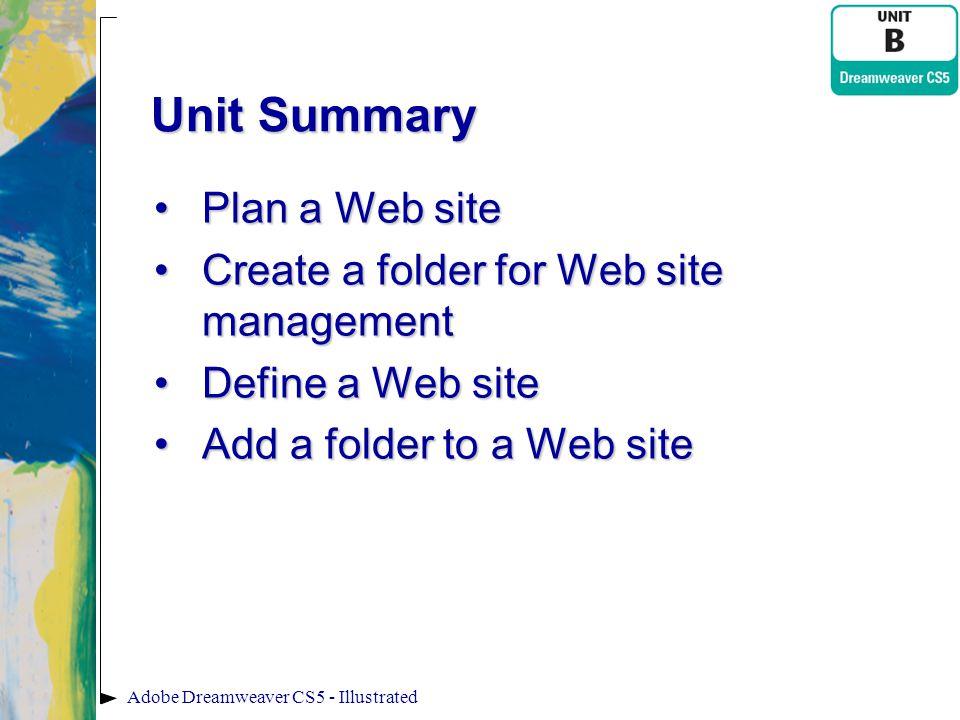 Unit Summary Plan a Web sitePlan a Web site Create a folder for Web site managementCreate a folder for Web site management Define a Web siteDefine a W