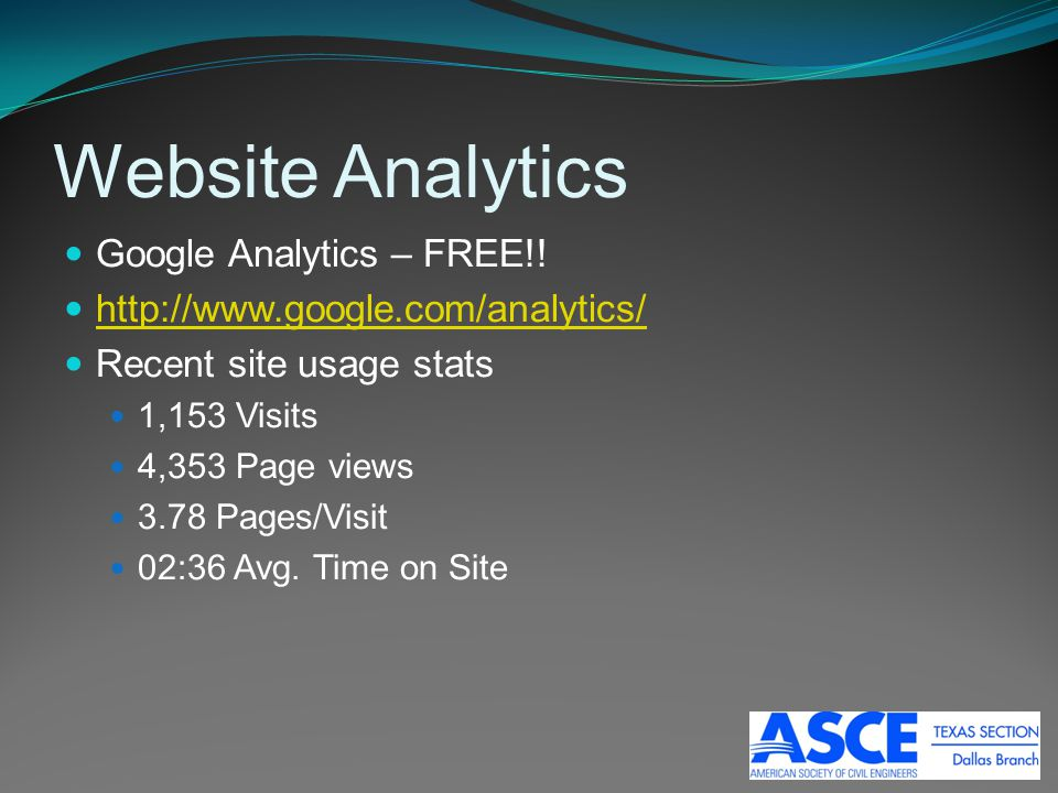 Website Analytics Google Analytics – FREE!! http://www.google.com/analytics/ Recent site usage stats 1,153 Visits 4,353 Page views 3.78 Pages/Visit 02