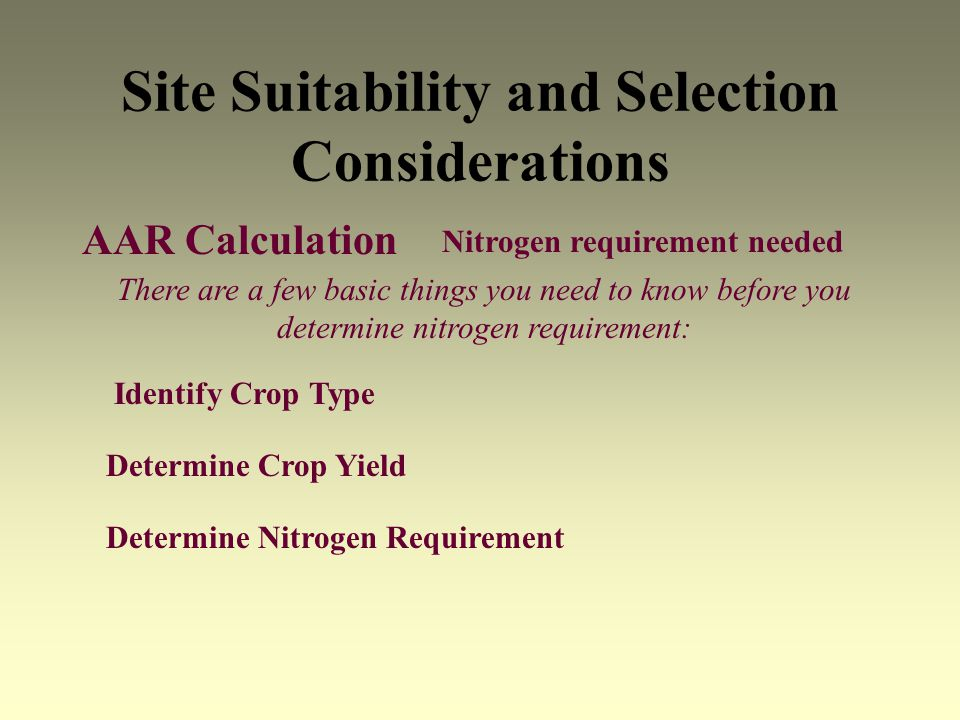 Site Suitability and Selection Considerations AAR Calculation Determine Crop Yield Determine Nitrogen Requirement Nitrogen requirement needed Identify