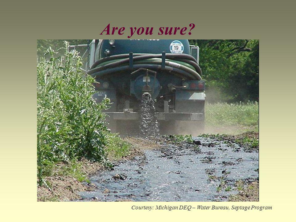 Are you sure? Courtesy: Michigan DEQ – Water Bureau, Septage Program