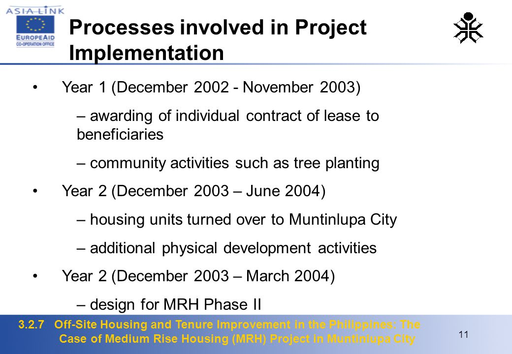 3.2.7 Off-Site Housing and Tenure Improvement in the Philippines: The Case of Medium Rise Housing (MRH) Project in Muntinlupa City 11 Year 1 (December