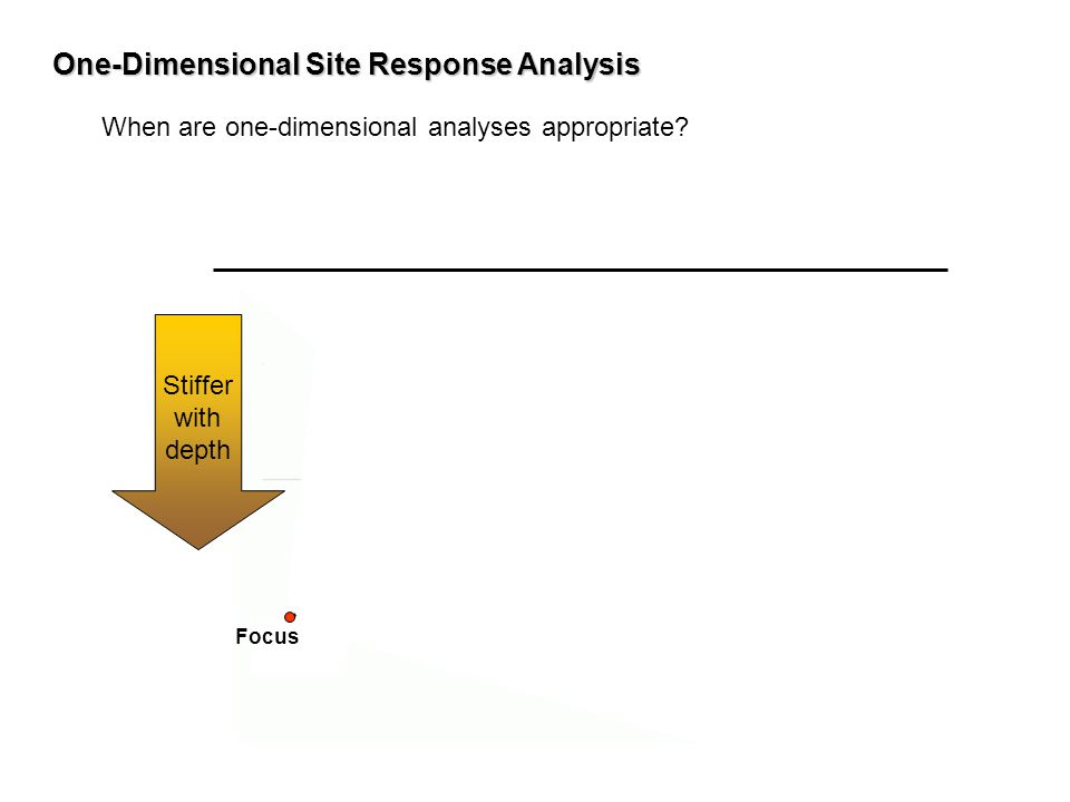 One-Dimensional Site Response Analysis When are one-dimensional analyses appropriate? Stiffer with depth Focus
