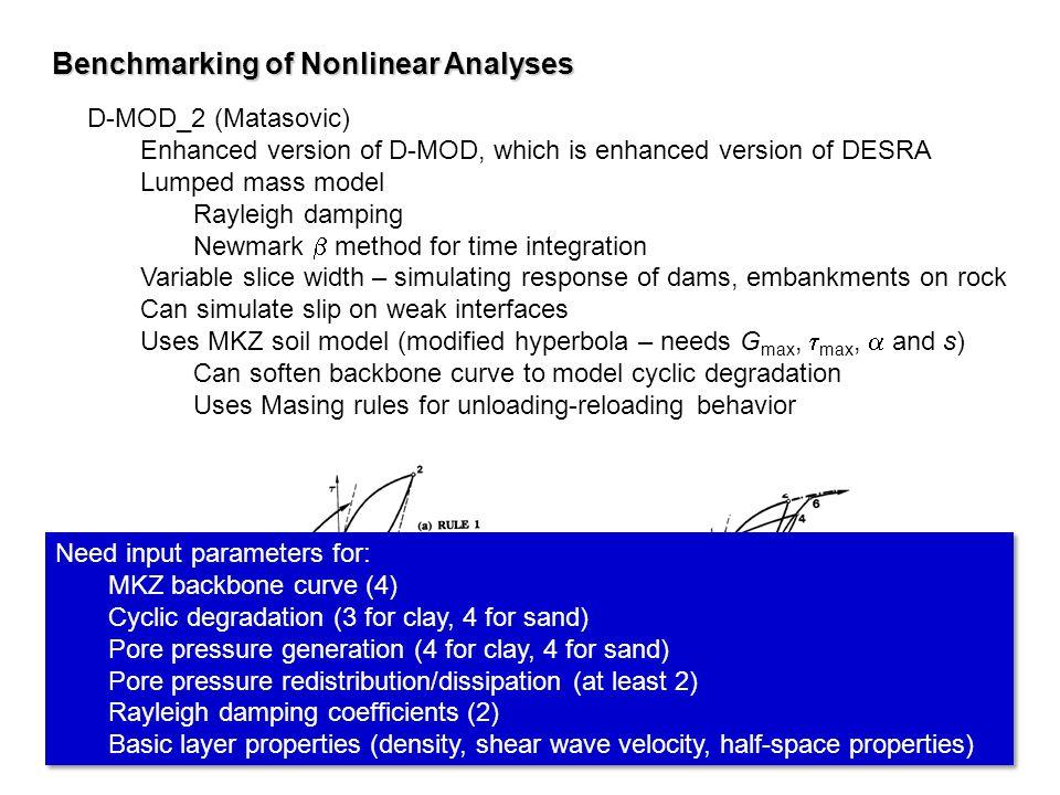 D-MOD_2 (Matasovic) Enhanced version of D-MOD, which is enhanced version of DESRA Lumped mass model Rayleigh damping Newmark method for time integrati