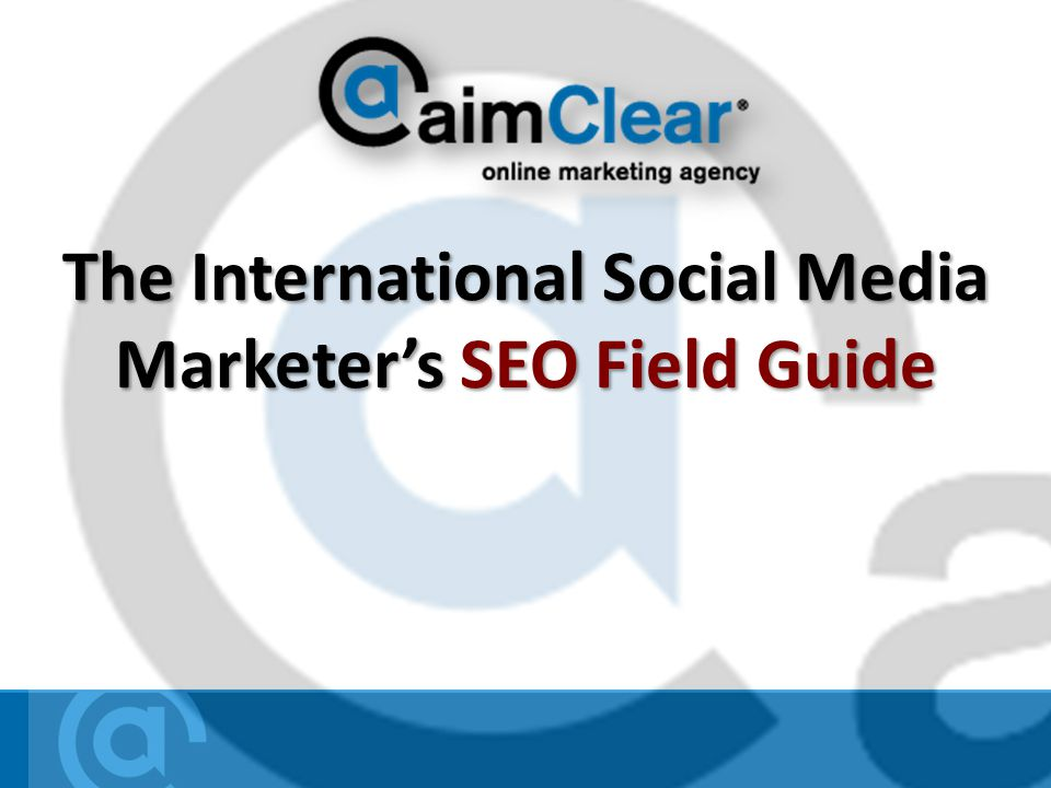 The International Social Media Marketers SEO Field Guide