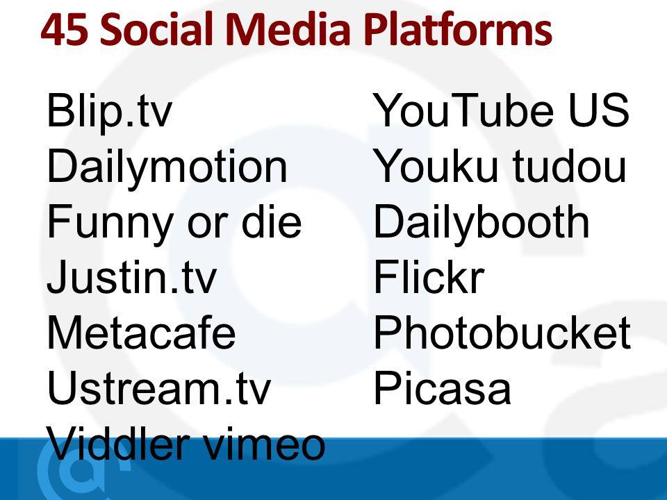 45 Social Media Platforms Blip.tv Dailymotion Funny or die Justin.tv Metacafe Ustream.tv Viddler vimeo YouTube US Youku tudou Dailybooth Flickr Photobucket Picasa