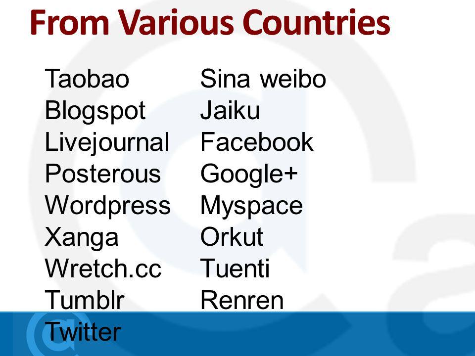 Taobao Blogspot Livejournal Posterous Wordpress Xanga Wretch.cc Tumblr Twitter Sina weibo Jaiku Facebook Google+ Myspace Orkut Tuenti Renren From Various Countries