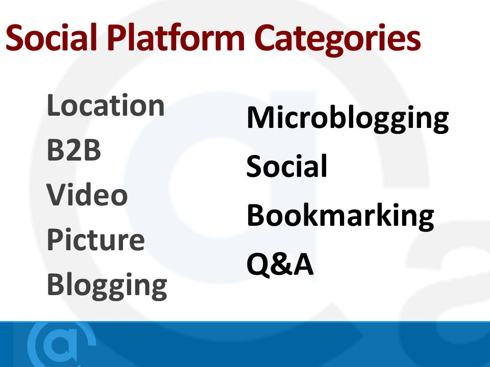 Social Platform Categories Location B2B Video Picture Blogging Microblogging Social Bookmarking Q&A