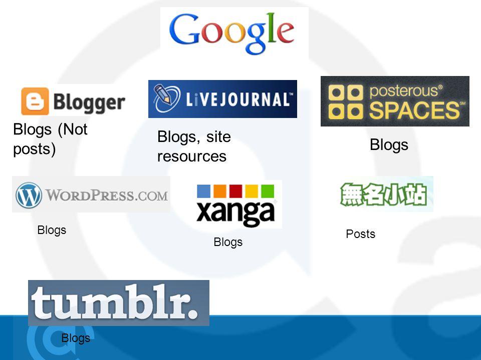 Blogs (Not posts) Blogs, site resources Blogs Posts Blogs