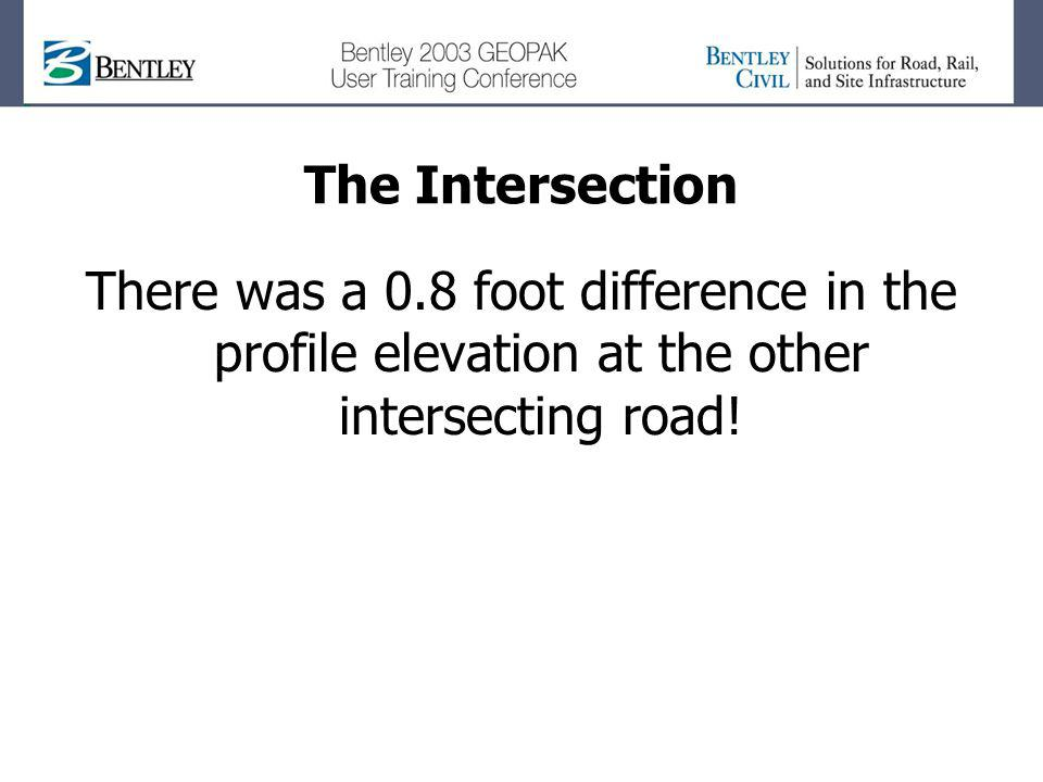 The Intersection There was a 0.8 foot difference in the profile elevation at the other intersecting road!