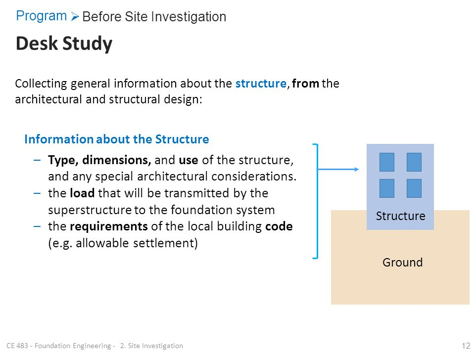 12 Collecting general information about the structure, from the architectural and structural design: Structure Ground Information about the Structure