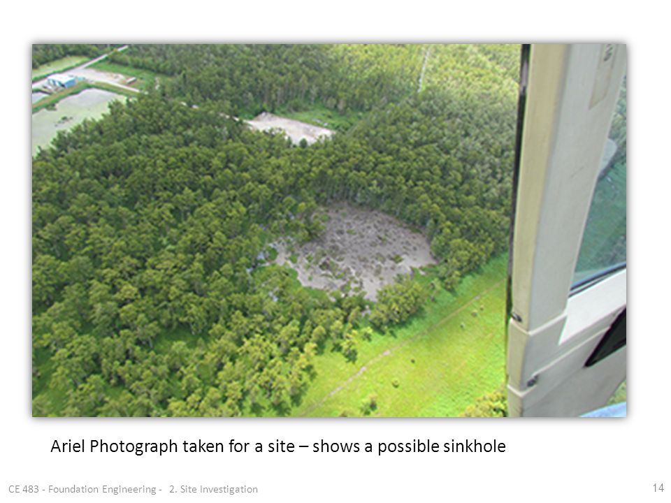 14 Ariel Photograph taken for a site – shows a possible sinkhole