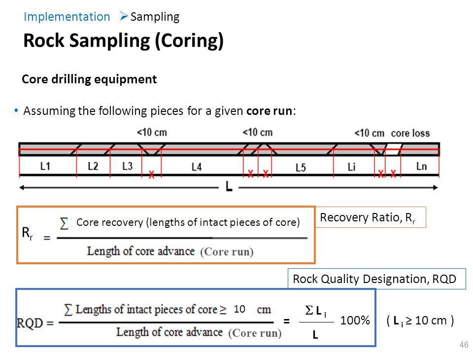 46 10 Assuming the following pieces for a given core run: L i = L 100% (Core run) RrRr ( L i 10 cm ) (Core run) Recovery Ratio, R r Rock Quality Desig