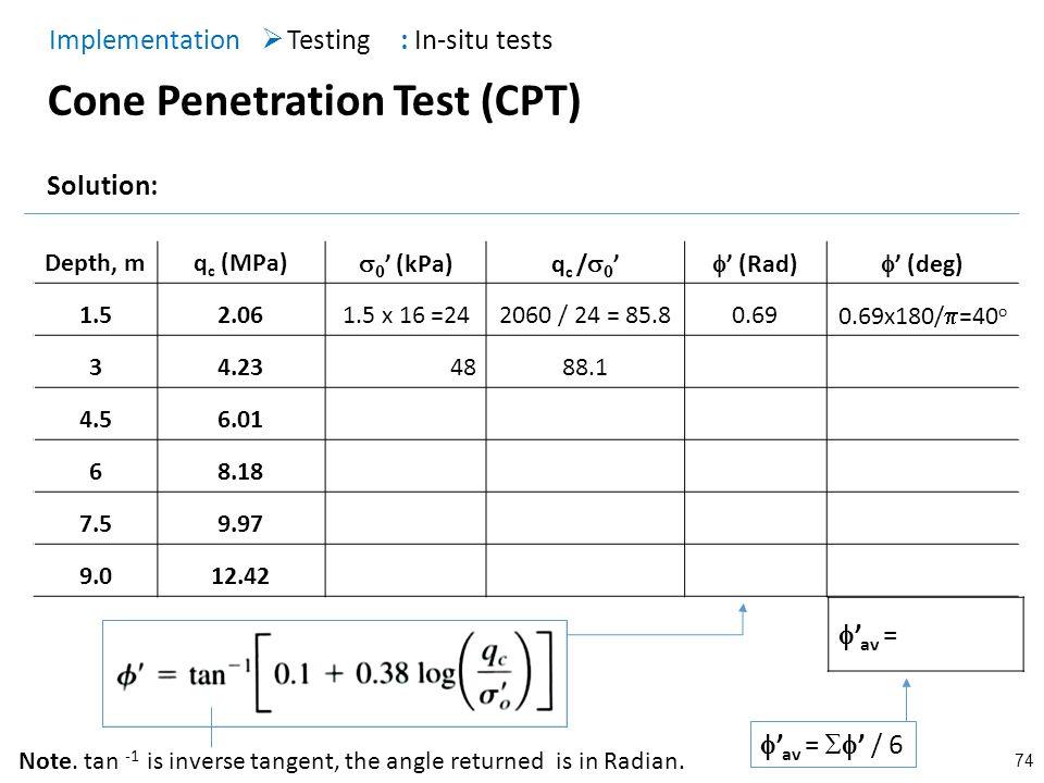 74 Cone Penetration Test (CPT) Testing Implementation : In-situ tests Solution: Depth, mq c (MPa) (kPa)q c / (Rad) (deg) 1.52.061.5 x 16 =242060 / 24