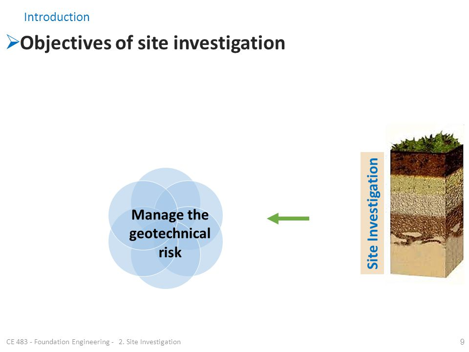 Introduction Objectives of site investigation 9 Suitability: of site for the proposed construction? Type of design solution: e.g. type of foundation: