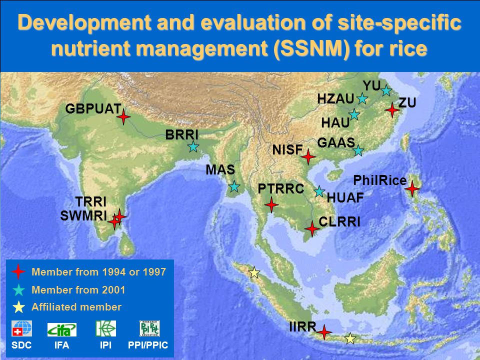 Development and evaluation of site-specific nutrient management (SSNM) for rice GBPUAT TRRI SWMRI IIRR PhilRice ZU MAS CLRRI NISF PTRRC GAAS HAU YU HZ