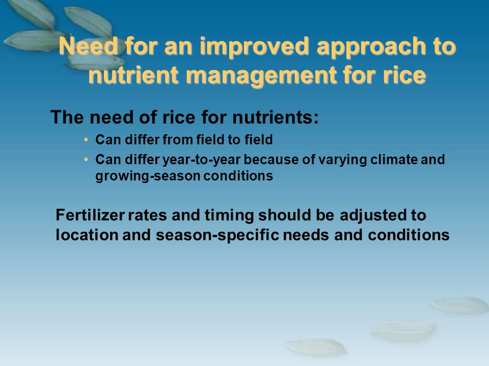 Need for an improved approach to nutrient management for rice The need of rice for nutrients: Can differ from field to field Can differ year-to-year b