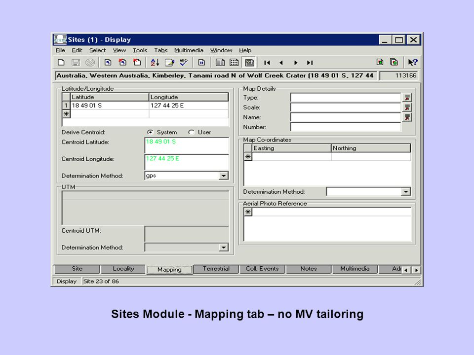 Sites Module - Mapping tab – no MV tailoring