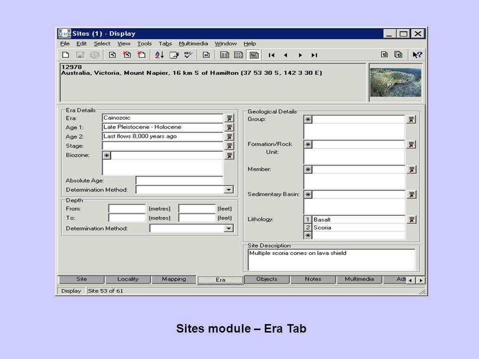 Sites module – Era Tab