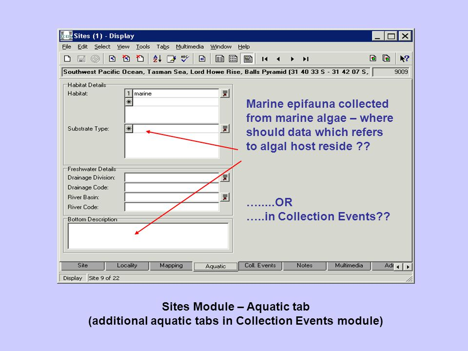 Sites Module – Aquatic tab (additional aquatic tabs in Collection Events module) Marine epifauna collected from marine algae – where should data which