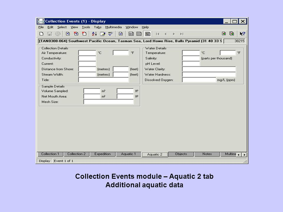 Collection Events module – Aquatic 2 tab Additional aquatic data