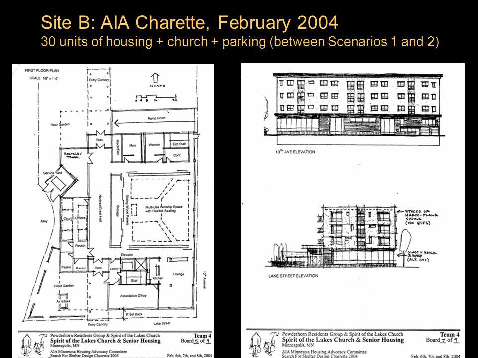 Site B: AIA Charette, February 2004 30 units of housing + church + parking (between Scenarios 1 and 2)
