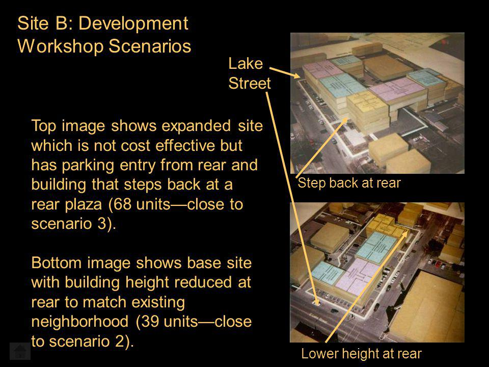 Site B: Development Workshop Scenarios Step back at rear Lake Street Lower height at rear Top image shows expanded site which is not cost effective but has parking entry from rear and building that steps back at a rear plaza (68 unitsclose to scenario 3).