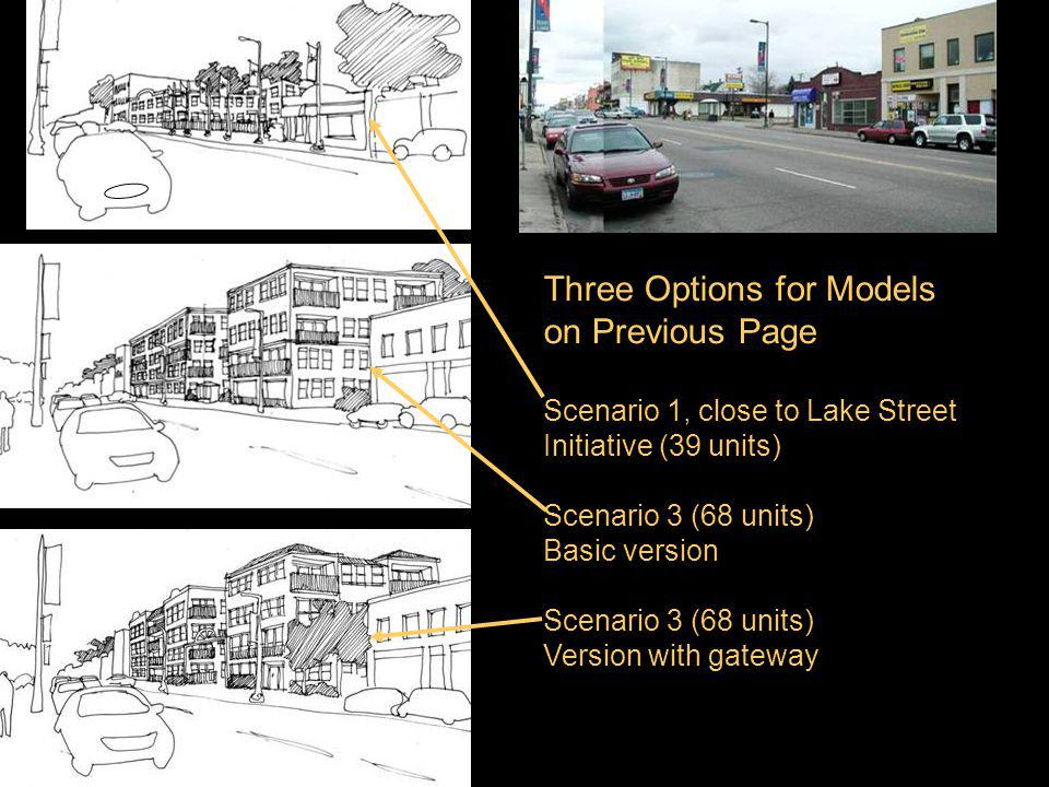 V Three Options for Models on Previous Page Scenario 1, close to Lake Street Initiative (39 units) Scenario 3 (68 units) Basic version Scenario 3 (68 units) Version with gateway