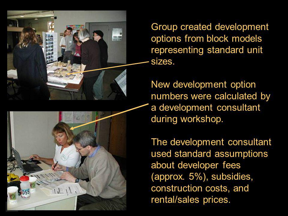 Group created development options from block models representing standard unit sizes.