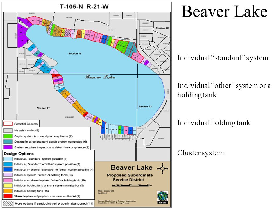 Beaver Lake Individual standard system Individual other system or a holding tank Individual holding tank Cluster system