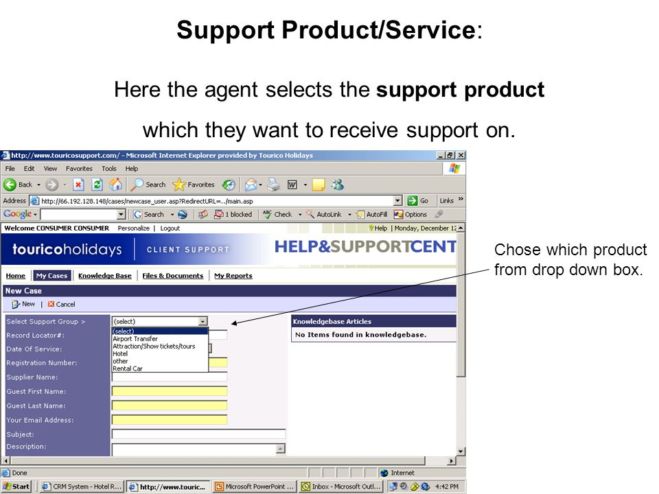 Support Product/Service: Here the agent selects the support product which they want to receive support on.