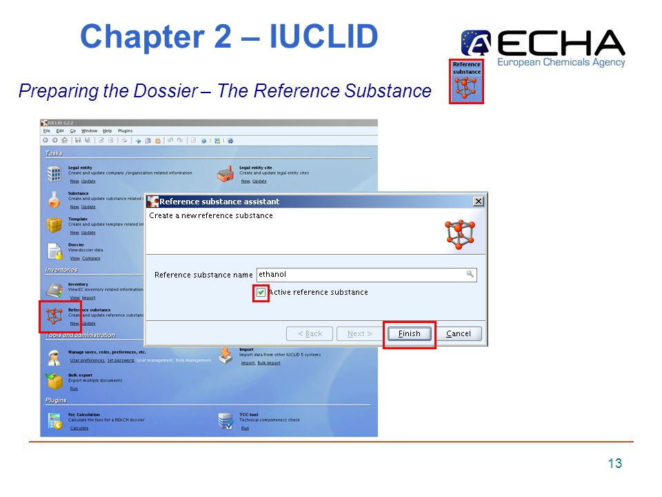 13 Chapter 2 – IUCLID Preparing the Dossier – The Reference Substance