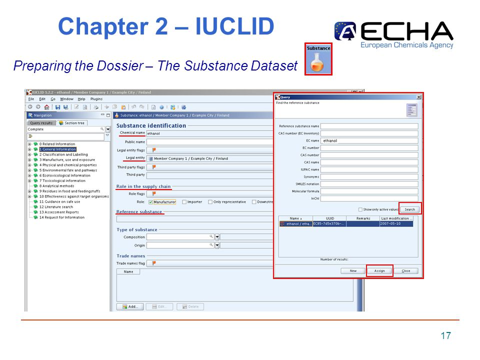 17 Chapter 2 – IUCLID Preparing the Dossier – The Substance Dataset
