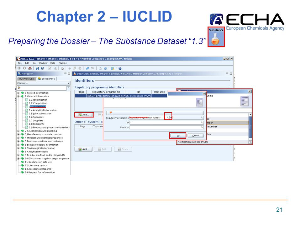 21 Chapter 2 – IUCLID Preparing the Dossier – The Substance Dataset 1.3