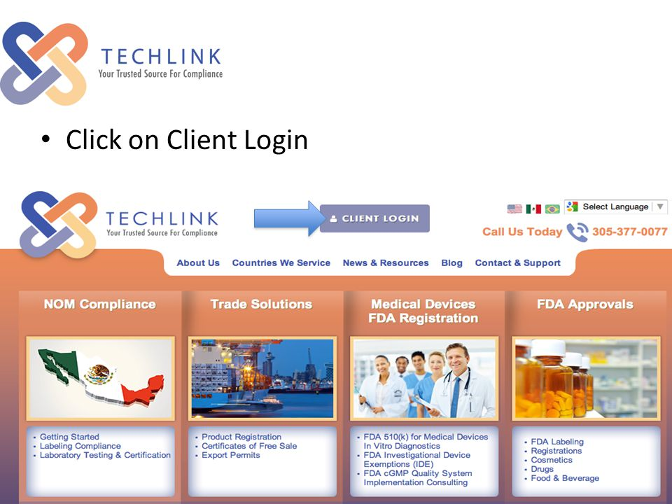 Click on Client Login