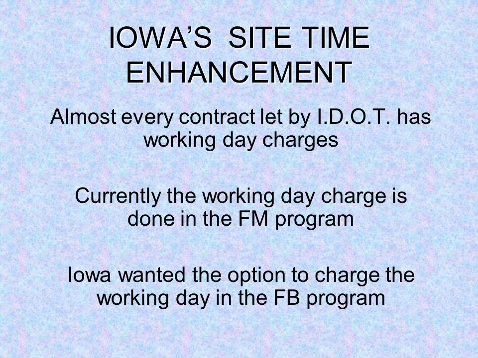 IOWAS SITE TIME ENHANCEMENT Almost every contract let by I.D.O.T.