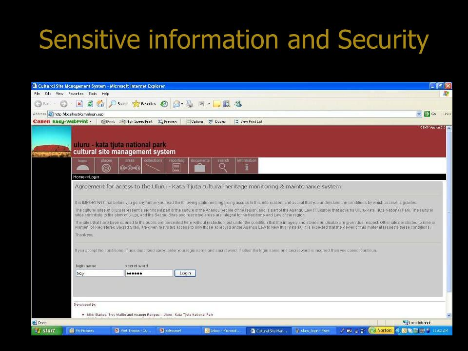 Sensitive information and Security